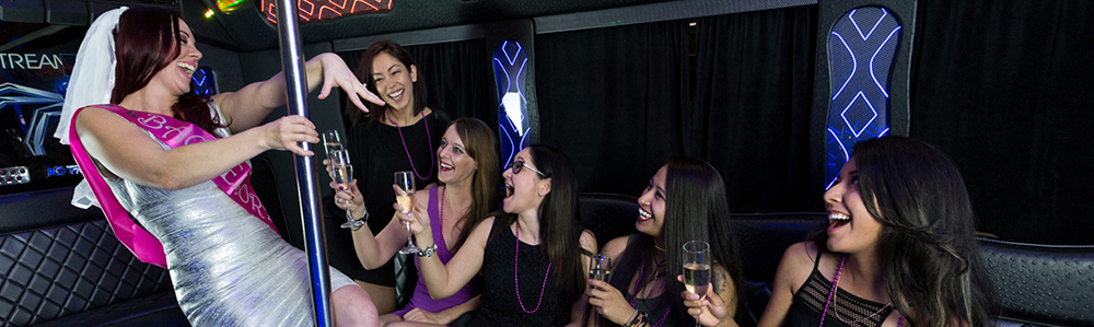 bachelorette and girls having a party inside 4SEASONS limo