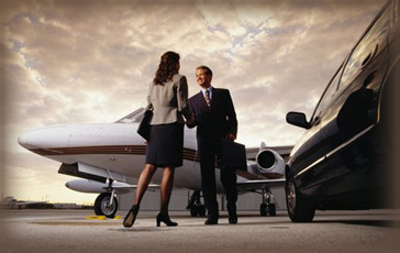 business woman greeting chauffeur at an airport