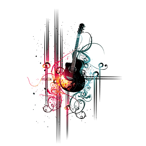 guitar and decorative illustration of abstract art
