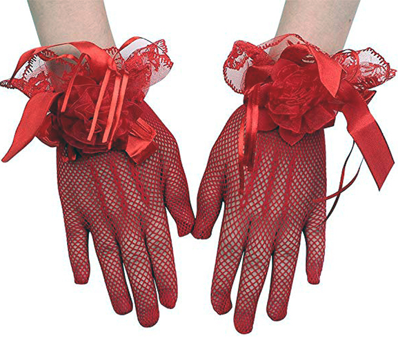 red color prom gloves worn on female hand