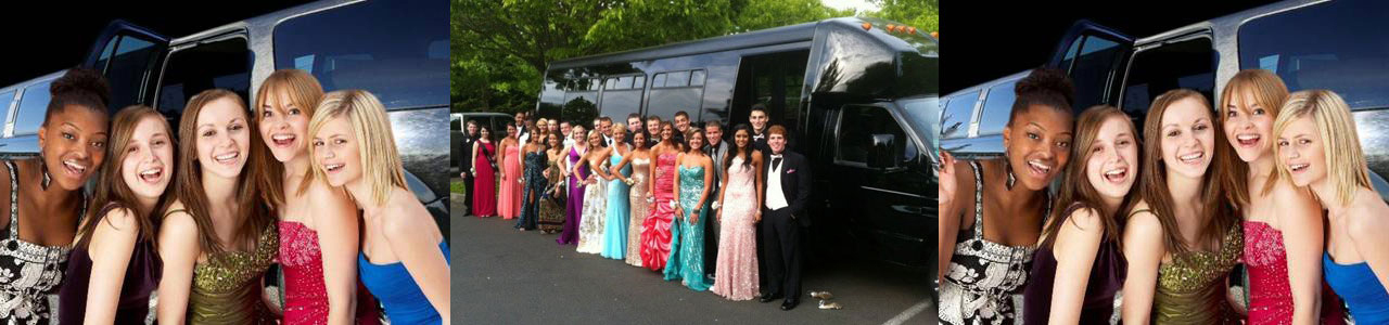 young people in front of a black color limousines by 4-SEASONS
